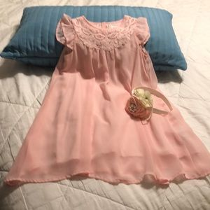 GAP-GS5blush pink flowing t-length dress&headband